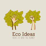 Eco ideas. Over pattern background vector illustration Royalty Free Stock Photo