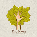 Eco ideas. Over pattern background vector illustration Royalty Free Stock Photos