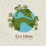 Eco ideas. Over pattern background vector illustration Royalty Free Stock Images