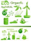 Eco Ikone und gesetzte Ansammlung des Zeichens vektor abbildung