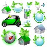 Eco Ikonen- und Konzeptansammlung Lizenzfreie Stockbilder