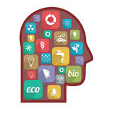 Eco ikony w głowie Fotografia Stock