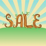 Eco illustration with calligraphy wood text SALE Royalty Free Stock Photography