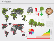 Eco info graphic with map of World Stock Photos