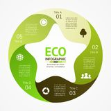Eco infographic, diagram, 5 options, parts, steps. Layout for your options or steps. Abstract template for background Royalty Free Stock Photography
