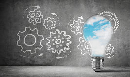 Eco innovations concept by means of lightbulb. Stock Images