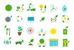 Eco isolated  icons set. Set of 24 eco isolated  icons Stock Photo