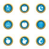 Eco jabłczane ikony ustawiać, mieszkanie styl ilustracja wektor