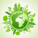 Eco jordbegrepp med grön cityscape Fotografering för Bildbyråer