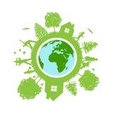 Eco jordsymbol royaltyfri illustrationer