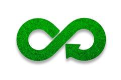 ECO, kółkowa gospodarka, zielonej trawy nieskończoności strzały symbol ilustracja 3 d obraz royalty free