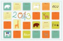 Eco-Kalender für das Jahr 2013 vektor abbildung