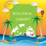 Eco karta z papierowym sztuka stylem Obraz Stock