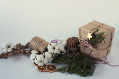 Eco katoenen van Kerstmisdecoratie bloemen, kaneel, sterren, de nette takken en streng van de jutekabel over witte achtergrond, v royalty-vrije stock foto's