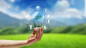 Eco-Konzept-Bewegungs-Grafik-Animations-Hintergrund lizenzfreie abbildung