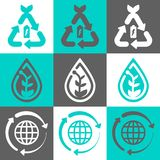 Eco-Konzeptvektor-Logosatz stock abbildung