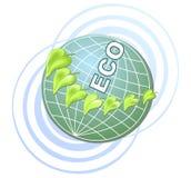 Eco kula ziemska z zielonymi liśćmi Zdjęcia Stock
