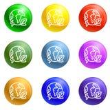 Eco kuli ziemskiej ziemi ikona ustawiający wektor royalty ilustracja