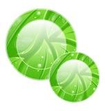 Eco lämnar den vänliga symbolen för rengöringsdukdesign, för att texturera Arkivbilder