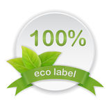 Eco label green leaves ribbon Royalty Free Stock Photography