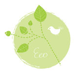 Eco label with leaves Royalty Free Stock Photo