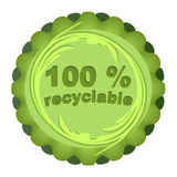 Eco-label for recyclable materials. Label for recyclable materials in green design Stock Illustration