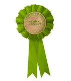 Eco label with ribbons. Royalty Free Stock Photos