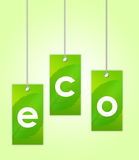 Eco labels. Green eco labels over green and white background.illustration stock illustration