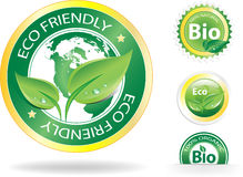 Eco Labels. This image is a vector file representing a collection of 4 eco/bio badges,  all the elements can be scaled to any size without loss of resolution Royalty Free Stock Photography