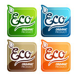 Eco Labels. Four labels for eco products Royalty Free Stock Photos