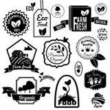 Eco labels black Stock Photos