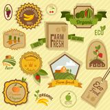 Eco labels fruits Stock Image