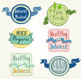 Eco Labels. Organic and Natural products hand drawn labels Royalty Free Stock Images