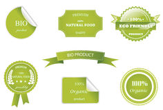 Eco labels and stamps with ribbon Stock Photo