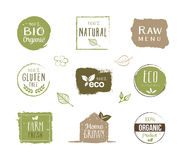 Eco Labels - Stickers, Healthy Lifestyle Stock Photo