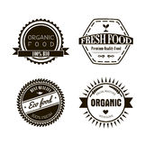 Eco labels in vintage retro style, vector illustration. Eco labels in vintage retro style.  Vector design elements, logos, identity, labels, badges and objects Royalty Free Stock Images