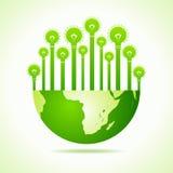 Eco lampor med jord royaltyfri illustrationer