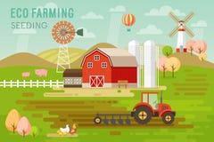 Eco lantbrukbegrepp med hus- och lantgårddjur stock illustrationer