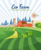 Eco lantgård Åkerbruk vektorillustration färgrik bygd Affisch med tappninglantgården royaltyfri illustrationer