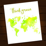 Eco layout with green watercolor map of the world Royalty Free Stock Photo