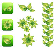 Eco leaf. Icon illustration.This image is a vector illustration and can be scaled to any size without loss of resolution in editable software Stock Photography