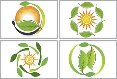 Eco leaf collection logos Royalty Free Stock Image