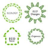 Eco leaf wreath logo set, design template elements. Isolated green leaves.Organic, ecology, eco design, eco house. Design set for emblem, logotype, web vector illustration