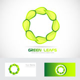 Eco leafs circle logo drawing Stock Photography