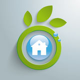 Eco Leaves Blue Button House PiAd Stock Image