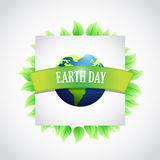 eco leaves earth day sign illustration Stock Photo