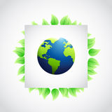 eco leaves and globe sign illustration Royalty Free Stock Photography