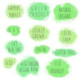 Eco-Lebensmittel-Emblemsatz lizenzfreie abbildung