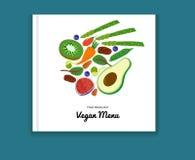 Eco-Lebensmittel-Menühintergrund Biorezeptfrüchte des Biohofstrengen vegetariers Betriebs Vektor Stockfoto