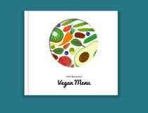 Eco-Lebensmittel-Menühintergrund Biorezeptfrüchte des Biohofstrengen vegetariers Betriebs Vektor Lizenzfreies Stockfoto